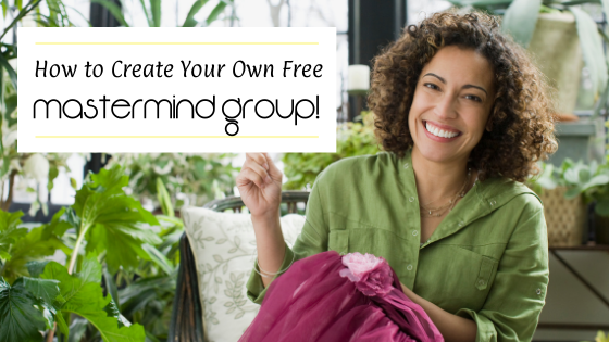 Woman knitting and smiling about her mastermind group