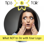 Shocked woman - what not to do with your logo